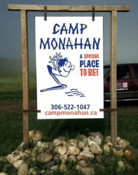 camp monahan entrance sign